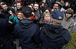 Madrid, Spain, 4/5/2013. Activists platform affected by the mortgage (PAH) faced off against riot police as they tried to stop the eviction of Monica Briceno, a 70 year old woman with Alzheimer's. The eviction was finally stopped. Photo: José Luis Cuesta