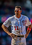 14 April 2018: Washington Nationals first baseman Ryan Zimmerman stands on first after the 8th inning against the Colorado Rockies at Nationals Park in Washington, DC. The Nationals rallied to defeat the Rockies 6-2 in the 3rd game of their 4-game series. Mandatory Credit: Ed Wolfstein Photo *** RAW (NEF) Image File Available ***