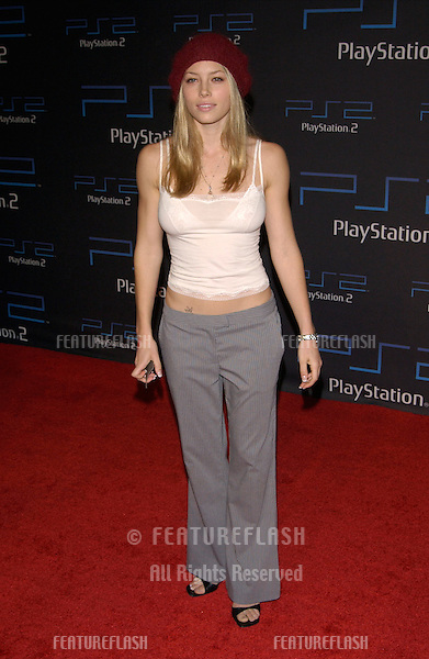 Actress JESSICA BIEL at one-year anniversary party, in Los Angeles, for the Sony Playstation  2..18OCT2001. © Paul Smith/Featureflash