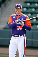 Outfielder Mike Triller (35) of the Clemson Tigers prior to the Reedy River Rivalry game against the South Carolina Gamecocks on Saturday, February 28, 2015, at Fluor Field at the West End in Greenville, South Carolina. South Carolina won, 4-1. (Tom Priddy/Four Seam Images)