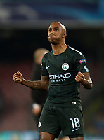 Football Soccer: UEFA Champions League Napoli vs Mabchester City San Paolo stadium Naples, Italy, November 1, 2017. <br /> Manchester City's Fabian Delph celebrates after winning 4-2 the Uefa Champions League football soccer match between Napoli and Manchester City at San Paolo stadium, November 1, 2017.<br /> UPDATE IMAGES PRESS/Isabella Bonotto
