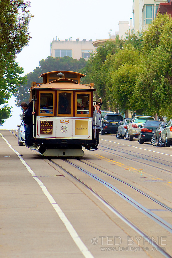 Street car descending steep hill in San Francisco