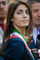 Roma, 23 Giugno, 2016. Virginia Raggi arriva in Campidoglio per iniziare il suo incarico come sindaco di Roma. Virginia Raggi arrives at the Campidoglio Capitol hill for her first day as Rome's mayor. The 5-Star Movement candidate in Rome, Virginia Raggi, took 67.2 percent of the vote, becoming the first female mayor of Rome and, at 37, also its youngest. (Antonello Nusca/Buenavista)