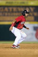 Eduard Pinto (2) of the Hickory Crawdads takes his lead off of second base against the Charleston RiverDogs at L.P. Frans Stadium on August 25, 2015 in Hickory, North Carolina.  The Crawdads defeated the RiverDogs 7-4.  (Brian Westerholt/Four Seam Images)