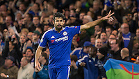 Diego Costa of Chelsea celebrates as his team take the lead during the UEFA Champions League group G match between Chelsea and FC Porto at Stamford Bridge, London, England on 9 December 2015. Photo by Andy Rowland.