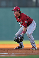 Matt Williams (48) of the South Carolina Gamecocks in a game against the Furman Paladins on Wednesday, April 20, 2016, at Fluor Field at the West End in Greenville, South Carolina. (Tom Priddy/Four Seam Images)