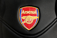 Arsenal badge on a seat in the dugout during Arsenal Women vs Sunderland AFC Ladies, FA Women's Super League FA WSL1 Football at Meadow Park on 12th November 2017