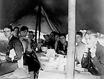 Gettysburg PA: View of te McKeesport Boy's Brigade eating dinner while camping at Gettysburg. Brady Stewart was in Gettysburg with the Pittsburgh-area Boy's Brigade. They were in Gettysburg for 40th anniversary of the battle of Gettysburg. The Boy's Brigade was a church-based youth organization started in the late 1800s in Scotland - 1903