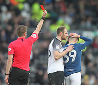 Blackburn Rovers John Buckley  is sent of by Ref John Brooks<br /> <br /> Photographer Mick Walker/CameraSport<br /> <br /> The EFL Sky Bet Championship - Derby County v Blackburn Rovers - Sunday 8th March 2020  - Pride Park - Derby<br /> <br /> World Copyright © 2020 CameraSport. All rights reserved. 43 Linden Ave. Countesthorpe. Leicester. England. LE8 5PG - Tel: +44 (0) 116 277 4147 - admin@camerasport.com - www.camerasport.com