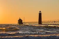 64795-01119 Grand Haven South Pier Lighthouse at sunset on Lake Michigan, Ottawa County, Grand Haven, MI