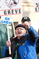 Dec 12, 2001, Montreal, Quebec, Canada; <br /> <br />  Canada Steamship Lines employees during a demonstration in front of the company headquarters at the Victoria Square, in Montreal, Canada, Dec 12th 2001.<br /> <br /> The employees on strike since Dec 1st 2001 were protesting against the use of scabs by the CSL company, hoping to influence Canadian Minister of Finances Paul Martin, an owner of the CSL Company.<br /> <br /> (Mandatory Credit: Photo by Sevy - Images Distribution (©) Copyright 2001 by Sevy<br /> <br /> NOTE :  D-1 H original JPEG, saved as Adobe 198 RGB
