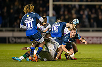 6th March 2020; AJ Bell Stadium, Salford, Lancashire, England; Premiership Rugby, Sale Sharks versus London Irish; Jean-Luc du Preez passes the ball to Marland Yarde of Sale Sharks