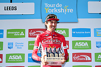 Picture by SWpix.com - 06/05/2018 - Cycling - 2018 Tour de Yorkshire - Stage 4: Halifax to Leeds - Stage winner Stephane Rossetto of Team COFIDIS with the Black Sheep beer prize