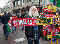 A scarf seller on the high street<br /> <br /> Photographer Simon King/CameraSport<br /> <br /> International Rugby Union - 2017 Under Armour Series Autumn Internationals - Wales v Australia - Saturday 11th November 2017 - Principality Stadium - Cardiff<br /> <br /> World Copyright &copy; 2017 CameraSport. All rights reserved. 43 Linden Ave. Countesthorpe. Leicester. England. LE8 5PG - Tel: +44 (0) 116 277 4147 - admin@camerasport.com - www.camerasport.com