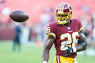 Landover, MD - August 24, 2018: Washington Redskins running back Adrian Peterson (26) warms up before preseason game between the Denver Broncos and Washington Redskins at FedEx Field in Landover, MD. The Broncos defeat the Redskins 29-17. (Photo by Phillip Peters/Media Images International)