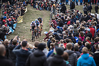 Wout Van Aert (BEL/Cibel-Cebon Offroad Team), Michael Vanthourenhout (BEL/Marlux Bingoal) and later race winner Toon Aerts (BEL/Telenet Fidea Lions) cheered on by the crowd.<br /> <br /> Koppenbergcross Belgium 2018