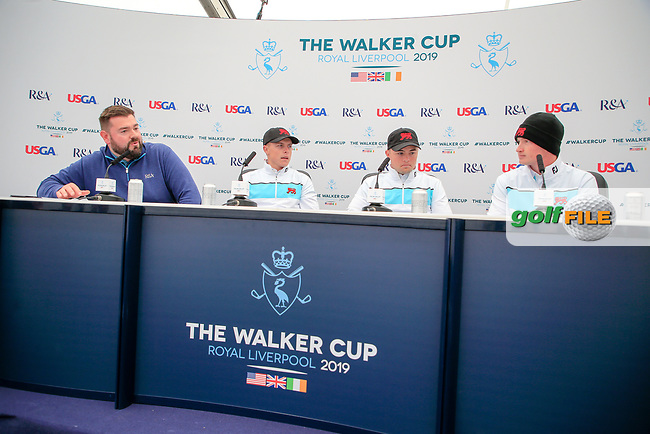 Conor Purcell  (GB&I) Alex Fitzpatrick (GB&I) Sandy Scott (GB&I) during the press conference at the Walker Cup, Royal Liverpool Golf CLub, Hoylake, Cheshire, England. 06/09/2019.<br /> Picture Fran Caffrey / Golffile.ie<br /> <br /> All photo usage must carry mandatory copyright credit (© Golffile   Fran Caffrey)
