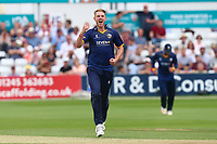 Jamie Porter of Essex celebrates taking the wicket of Aneurin Donald during Essex Eagles vs Glamorgan, NatWest T20 Blast Cricket at The Cloudfm County Ground on 16th July 2017