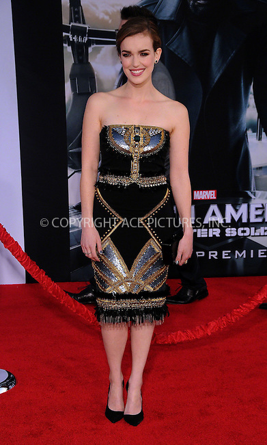 WWW.ACEPIXS.COM<br /> <br /> March 13 2014, LA<br /> <br /> Elizabeth Henstridge arriving at the premiere of Marvel's 'Captain America: The Winter Soldier' at the El Capitan Theatre on March 13, 2014 in Hollywood, California.<br /> <br /> By Line: Famous/ACE Pictures<br /> <br /> <br /> ACE Pictures, Inc.<br /> tel: 646 769 0430<br /> Email: info@acepixs.com<br /> www.acepixs.com