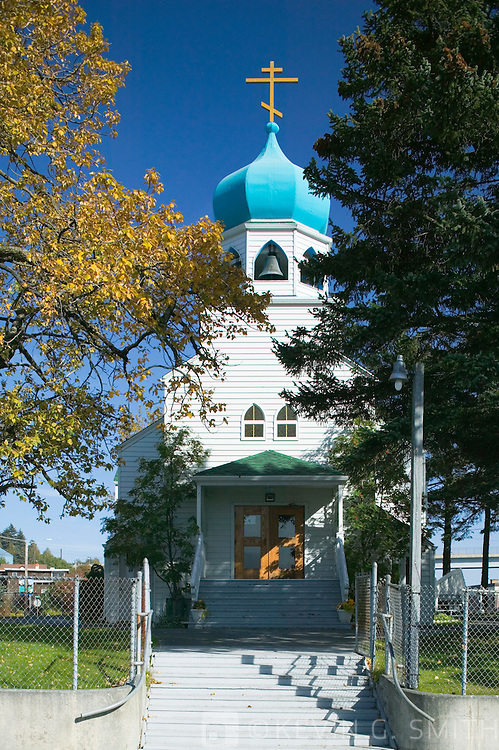 Holy Resurrection Russian Orthodox Church, fall, Kodiak Alaska.