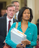 Attorney Cheryl D. Mills and Foreign Policy Advisor Jake Sullivan arrive prior to former United States Secretary of State Hillary Rodham Clinton, a candidate for the 2016 Democratic Party nomination for President of the United States, giving testimony before the US House Select Committee on Benghazi on Capitol Hill in Washington, DC on Thursday, October 22, 2015.  Both Mills and Sullivan testified before the committee in early September.<br /> Credit: Ron Sachs / CNP