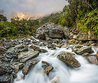 Morning at wild Tekano Creek near Douglas Rock Hut in Copland Valley, Westland Tai Poutini National Park, UNESCO World Heritage Area, West Coast, South Westland, New Zealand, NZ