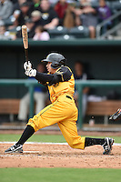 Jacksonville Suns  outfielder Alfredo Lopez (2) at bat during a game against the Pensacola Blue Wahoos on April 20, 2014 at Bragan Field in Jacksonville, Florida.  Jacksonville defeated Pensacola 5-4.  (Mike Janes/Four Seam Images)