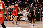 25th March 2018, Madrid, Spain; Endesa Basketball League, Real Madrid versus Valencia; Facundo Campazzo (Real Madrid Baloncesto) brings the ball foward past Aaron Doornekamp (Valencia Basket)