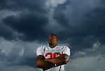 Rutgers football player Courtney Greene, poses for a photograph outside of the Hale Center in Piscataway..ON THURS AUG 14,2008.<br />