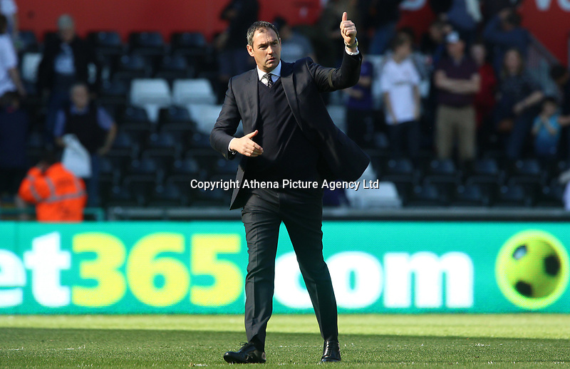 Swansea City manager Paul Clement gives a thumbs up to the fans after the final whistle of the Premier League match between Swansea City and Stoke City at The Liberty Stadium, Swansea, Wales, UK. Saturday 22 April 2017