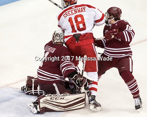 Ryan Wischow (UMass - 1), Jordan Greenway (BU - 18), Niko Hildenbrand (UMass - 19) - The Boston University Terriers defeated the University of Massachusetts Minutemen 3-1 on Friday, February 3, 2017, at Agganis Arena in Boston, Massachusetts.The Boston University Terriers defeated the visiting University of Massachusetts Amherst Minutemen 3-1 on Friday, February 3, 2017, at Agganis Arena in Boston, MA.
