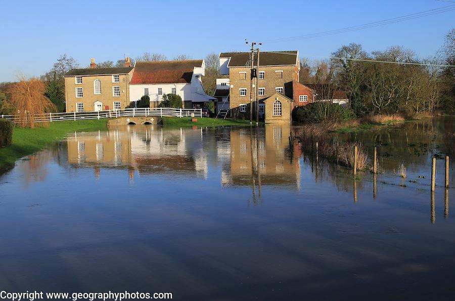 Flood water on the River Deben at Rackham's Mill, Wickham Market, Suffolk, England, UK