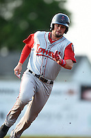 Lowell Spinners third baseman Jordan Betts (22) running the bases during a game against the Batavia Muckdogs on July 18, 2014 at Dwyer Stadium in Batavia, New York.  Lowell defeated Batavia 11-2.  (Mike Janes/Four Seam Images)