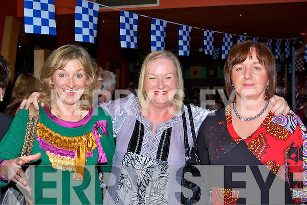 Paulette Scollard, Karen Fitzgerald and Joan O'Shea celebrating Desmonds victory at the Crystal Swing concert in the River Island Hotel Castleisland on Friday night