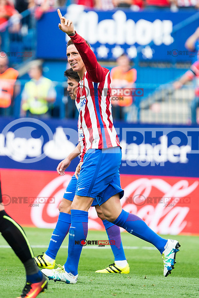 Atletico de Madrid's player Fernando Torres celebrating a goal during a match of La Liga Santander at Vicente Calderon Stadium in Madrid. September 17, Spain. 2016. (ALTERPHOTOS/BorjaB.Hojas) /NORTEPHOTO