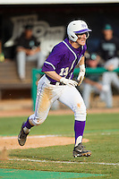 Cody Manzella (13) of the High Point Panthers hustles down the first base line against the Coastal Carolina Chanticleers at Willard Stadium on March 15, 2014 in High Point, North Carolina.  The Chanticleers defeated the Panthers 1-0 in the first game of a double-header.  (Brian Westerholt/Four Seam Images)