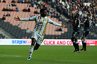Kieran Agard of MK Dons celebrates but the goal is ruled out for offside during MK Dons vs Macclesfield Town, Sky Bet EFL League 2 Football at stadium:mk on 17th November 2018