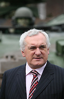 04/04/2008.An Taoiseach Bertie Ahern, TD  during a meeting with Lieutenant General Pat Nash, the Operational Commander of EUFOR Chad Mission at McKee Barracks, Blackhorse Ave, Dublin..Photo: Gareth Chaney Collins
