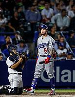 Alex Verdugo de los Dodgers, durante el partido de beisbol de los Dodgers de Los Angeles contra Padres de San Diego, durante el primer juego de la serie las Ligas Mayores del Beisbol en Monterrey, Mexico el 4 de Mayo 2018.<br /> (Photo: Luis Gutierrez)
