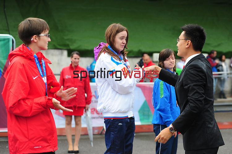 IPC European Athletics Championship 2014<br /> Swansea University<br /> <br /> Medal ceremony: Women's 200m T36. <br /> <br /> 21.08.14<br /> Chris Vaughan-SPORTINGWALES