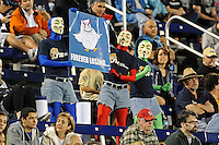 12 November 2011:  FIU fans, known as the FIU Meme Generators, hold up a banner parodying FAU Head Football Coach Howard Schnellenberger as the FIU Golden Panthers defeated the Florida Atlantic University Owls, 41-7, to win the annual Shula Bowl game, at FIU Stadium in Miami, Florida.