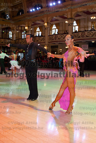 Andrius Kandelis and Elena Zverevshchikova from Lithuania perform their dance during the Professional Latin-american Rising Stars competition of the Blakcpool Danca Festival  that is the most famous event among dance competitions held in Blackpool, United Kingdom on May 27, 2011. ATTILA VOLGYI