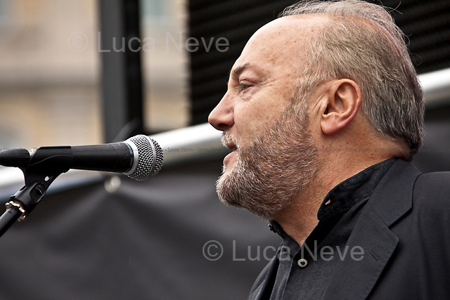 George Galloway  (British politician, author, journalist, broadcaster, former MP, Vice President of the Stop The War Coalition).<br /> <br /> London, 08/10/2011. Today Trafalgar Square was the stage of the &quot;Antiwar Mass Assembly&quot; organised by The Stop The War Coalition to mark the 10th Anniversary of the invasion of Afghanistan. Thousands of people gathered in the square to listen to speeches given by journalists, activists, politicians, trade union leaders, MPs, ex-soldiers, relatives and parents of soldiers and civilians killed during the conflict, and to see the performances of actors, musicians, writers, filmmakers and artists. The speakers, among others, included: Jeremy Corbin, Joe Glenton, Seumas Milne, Brian Eno, Sukri Sultan and Shadia Edwards-Dashti, Hetty Bower, Mark Cambell, Sanum Ghafoor, Andrew Murray, Lauren Booth, Kate Hudson, Sami Ramadani, Yvone Ridley, Mark Rylance, Dave Randall, Roger Lloyd-Pack, Rebecca Thorn, Sanasino al Yemen, Elvis McGonagall, Lowkey (Kareem Dennis), Tony Benn, John Hilary, Bruce Kent, John Pilger, Billy Hayes, Alison Louise Kennedy, Joan Humpheries, Jemima Khan, Julian Assange, Lindsey German, George Galloway. At the end of the speeches a group of protesters marched toward Downing Street where after a peaceful occupation the police made some arrests.