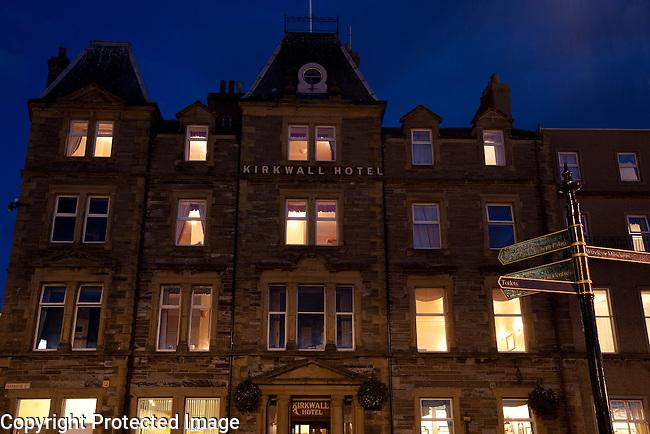 Kirkwall Hotel, Orkney Islands in Scotland Illuminated at Night