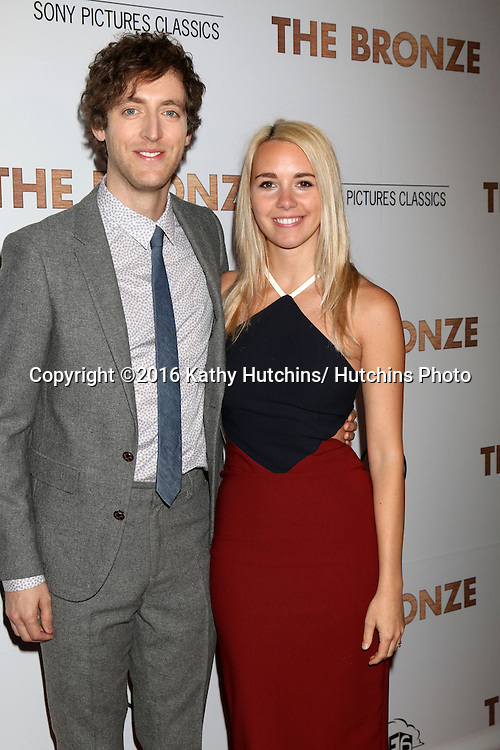LOS ANGELES - MAR 7:  Thomas Middleditch, Mollie Gates at the The Bronze Premiere at the SilverScreen Theater at the Pacific Design Center on March 7, 2016 in Los Angeles, CA