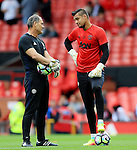 Sergio Romero of Manchester United talks with coach Silvino Louro during the Premier League match at Old Trafford Stadium, Manchester. Picture date: September 24th, 2016. Pic Sportimage