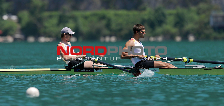 21 June,2014. World Cup Rowing, Aiguebelette, France. Bastian Bechler and Anton Braun in action..<br /> <br /> Foto &copy; nph / Pier Paolo Piciucco