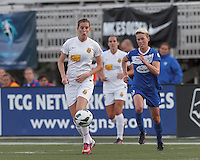 Western New York Flash forward Adriana Martin (8) sees a loose ball. In a National Women's Soccer League Elite (NWSL) match, the Boston Breakers (blue) tied Western New York Flash (white), 2-2, at Dilboy Stadium on June 5, 2013.