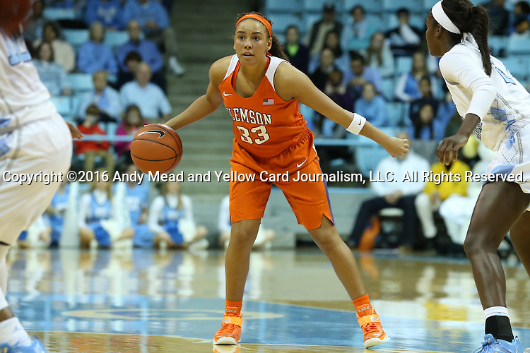 03 January 2016: Clemson's Alexis Carter. The University of North Carolina Tar Heels hosted the Clemson University Tigers at Carmichael Arena in Chapel Hill, North Carolina in a 2015-16 NCAA Division I Women's Basketball game. UNC won the game 72-56.