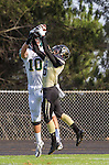 Palos Verdes, CA 10/25/13 - Dane Largent (Mira Costa #10) and Andrew Phillips (Peninsula #16) in action during the Mira Costa vs Peninsula varsity football game at Palos Verdes Peninsula High School.